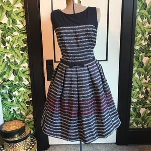 Retro Style Striped Fit and Flare Dress